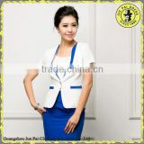 Custom made white office skirt suit for ladies 2015