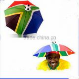 Hands Free Flag Personalized Brazil Head Shape Hat umbrella