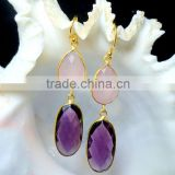 Gemstones Fashion Jewelry Earrings, Gold Plated Fashion Earrings, Pink Chalcedony Earrings