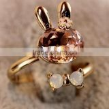 Gold Alloy Bunny Head Animal Crystal Openning Adjustable Ring Accessory Gift