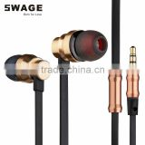 PH-EN3 free sample russian market comfortable GOLDEN metal flat cable earphones for Iphone & tablet pc