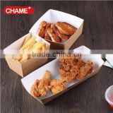 Promotion eco-friendly high quality kraft paper food packing box for fried chicken boat tray