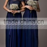 New Navy Blue Short Sleeves Long Lace Bridesmaid Dress Maid Of Honor Dress ZY522