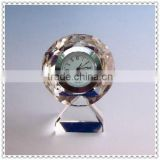 Round Diamond Crystal Desk Clock For Business Souvenir Gifts