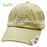 Embroidery logo cotton twill 6-panel golf cap with beer bottle opener, baseball cap