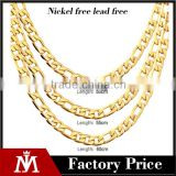 High Quality Mens Flat Gold Embossed Bracelet Stainless Steel Cuban Necklace Link Chain Jewelry