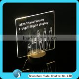 Transparent carving acrylic led glow sign board with designed shape acrylic led display stand