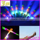 LED Light up Flying Arrow Umbrella Helicopter Sling Elastic Powered Shoot toy Wholesales