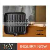 WS-FP09 cast iron grill pan with wooden handle