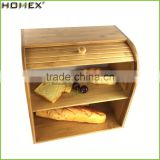 Bread Storage Box for 2 Tier with Roll Top/Bamboo Bread Keeper Bin/Homex_FSC/BSCI Factory