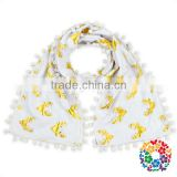 cute design soft christmas deer print pom pom tassel scarf for kids