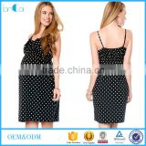 Customize Ladies Black and White Polka-Dot Empire Maternity Dress