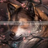 Rhinestone Multicolor Peach Blossom Wolf Pattern 35cm x 35cm Cotton Embroidery DIY Kit Diamond Painting