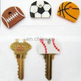 Sport Ball shaped silicone key cap with chain