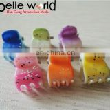 Flower Colors Small Mini Plastic shining powdeHair Claw Clips For Girls Big Brand shining powd er Cellulose Clamp Jewelry