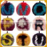 Fashion genuine colorful fox fur key chain custom fur pompom