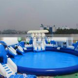 Cheap 2017 Inflatable Water Game, Blue & White Bear Yard Inflatable Water Slide Park With Water Pool & Water Obstacle Course