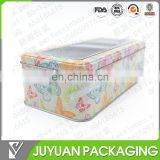 square empty biscuit tin can with clear window wholesale