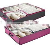 Amazing Non-Woven Under Bed Foldable Shoe Organizer, Shoe Protector, Shoes Storage Box