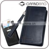 Guangzhou Two Sizes Buff Leather Men RFID Clutch Long Wallet with Wrist Strap
