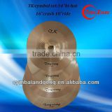 TK cymbal set 14hihat16crash18ride cymbal for drums