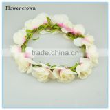 China hair accessory factory supply cream wedding decoration flower headband bridal flower crown