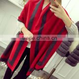 Fashionable Popular STARS LOVES Frame Style with Fringes Double-side Double-color Acrylic Wool Pashmina Scarf for Lady
