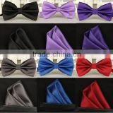 Bowtie men vintage purple black yellow silver wedding dress suits handkerchief bow tie pocket square set