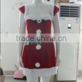 walson hot girls and women halloween costumes Sexy Santa Pom Pom Dress Christmas costume Party Red Dress Up