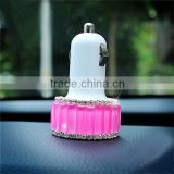2016 new beautiful diamond dual port mini micro car usb charger