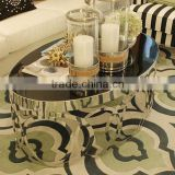 2016 Factory Supply Natural Black Natural Oval Marble Metal Stainless Steel Coffee Table Set