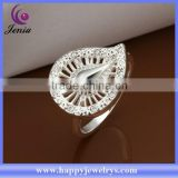 Elegant design alibaba express hot selling 925 silver plated white zircon diamond engagement ring (CR304)