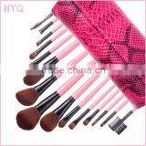 Fashional Professional makeup brush set 15pcs make up brush with snakskin bag