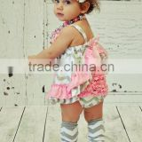 Hight-quality Short sleeves ruffel playsuit&boutique stylish baby girls lace playsuit