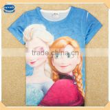 ( K5198Y ) BW 2-8Y high quality wholesale kids summer t shirts Elsa and Anna girls 3d printing t shirt