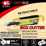 Stationery Cutter Auto Retractable Safety Box Trapezoid blade Plastic with rubber grip handle Cutter