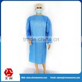 China factory supplier sterile blue color disposable sms surgical gown with 35g nonwoven fabric
