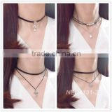 2016 Fashion Black Velvet Layer Chain Stretch Tattoo Choker Necklace Gold Layered Chain Necklace                                                                         Quality Choice