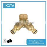 Garden Accessory 2-Way Brass Water Hose Quick Connector                                                                         Quality Choice
