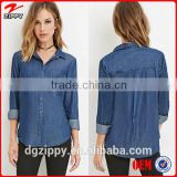 2015 China wholesale new designs chambray pocket denim shirts for women                                                                         Quality Choice