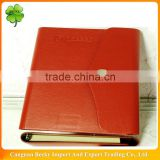 A5 classic brown leather folded cover writing organizer with button closure and ring binder