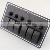 6 gang Waterproof Aluminium LED Rocker Switch Panel with Indicators IP68 Aluminium panel