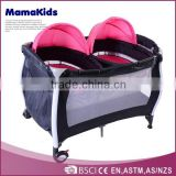 Classic Foldable Baby Playpen &Travel Cot with Adorable Cartoon Pattern