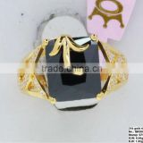 QR260 quality handmade 21k gold gemstone ring,875 stamp black onyx finger ring for bridal