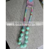 2PCS/Lot Latest charming acid blue&white acrylic beads necklace child/kid chunky beaded bubblegum JB020