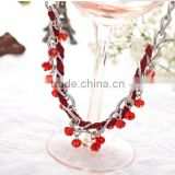 Exclusive design national Hand-woven red roped beaded curved needle diy crystal necklace choker necklace