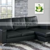 Europe best selling small size Black leather cheap left or right L shape corner sectional sofa