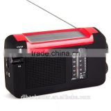 Whosesaler rechargeable portable radio AM FM crank solar radio