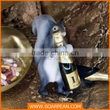 Fake resin squirrel figurine used for wine bottle holder