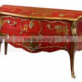 Classico Regency Decorative French Solid Wood Bombe Chest with Precious Golden Brass and Beautiful Chinoiserie Paint BF12-04254b